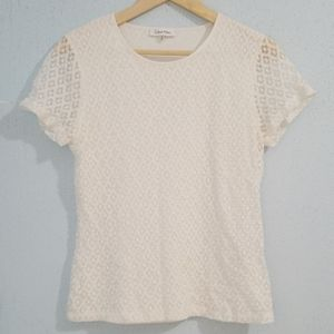 Calvin Klein Women's Blouse Lace Short Sleeve.Sz M